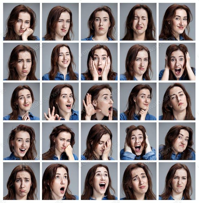 Kit de retratos de Mujer joven con diferentes emociones