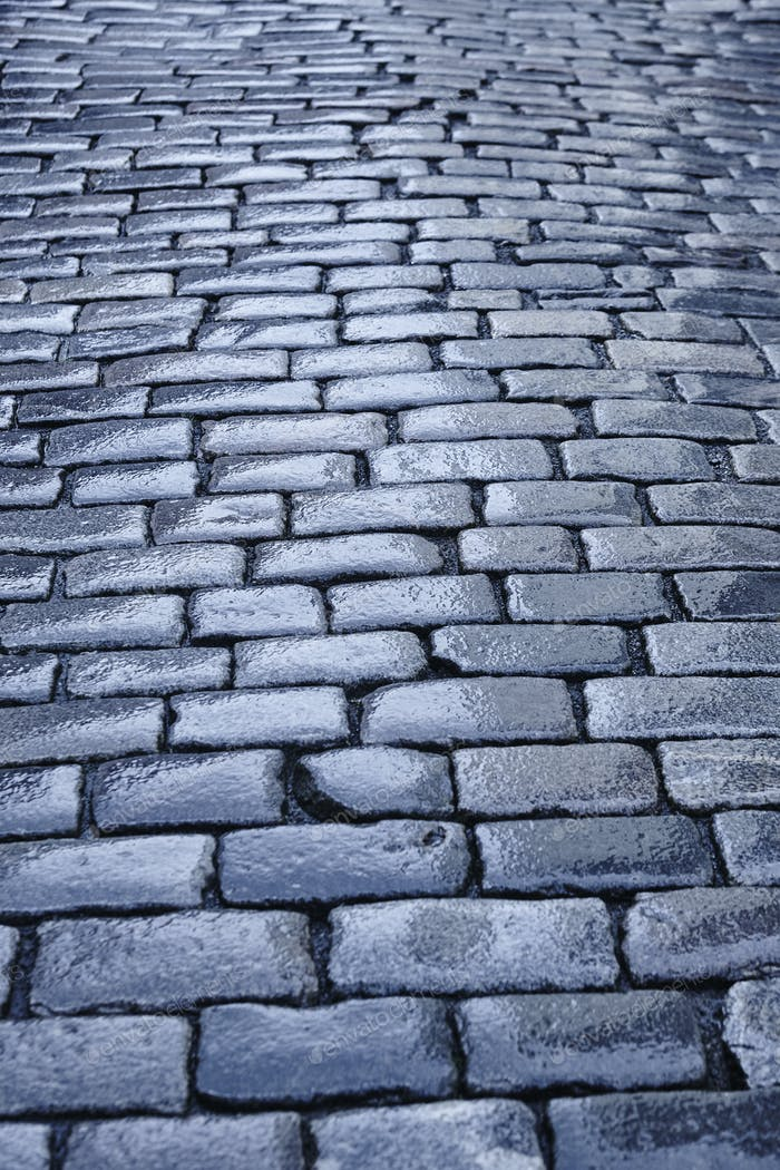 Antique wet cobblestone street at dawn. Vintage. Blue tone. Vertical