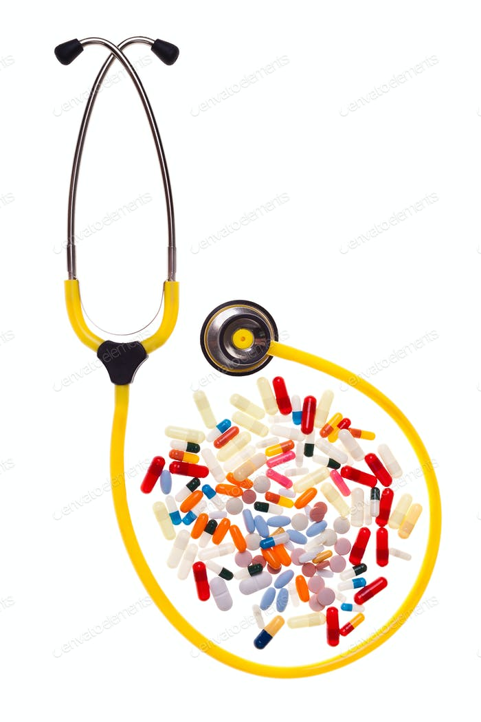 Pills and stethoscope