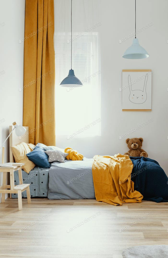 Stylish Blue And Orange Kid S Bedroom Design In Bright Apartment Photo By Bialasiewicz On Envato Elements