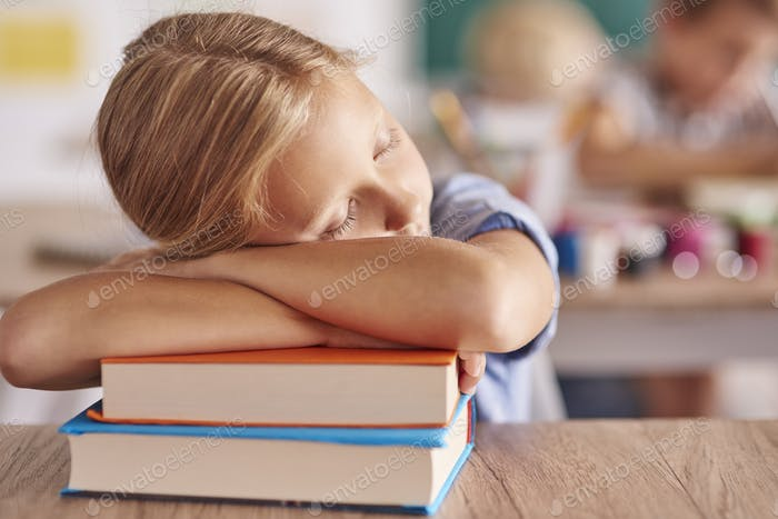 Tired after long day at school