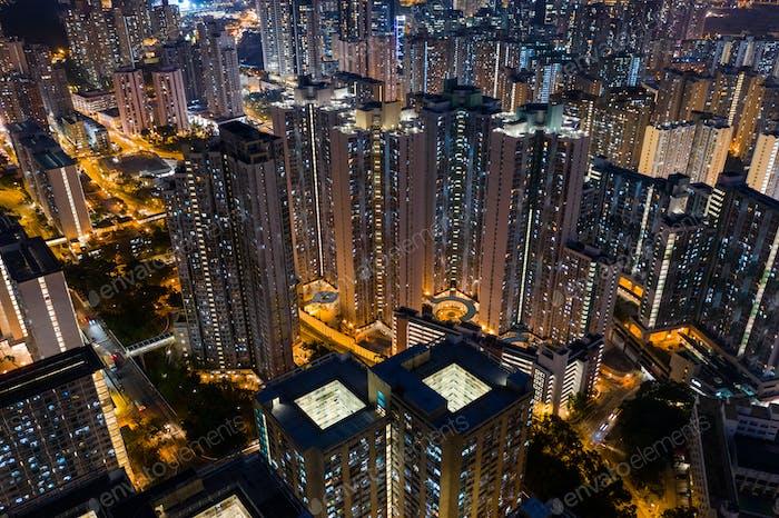 Wong Tai Sin, Hong Kong, 09 October 2018:- Hong Kong city at night