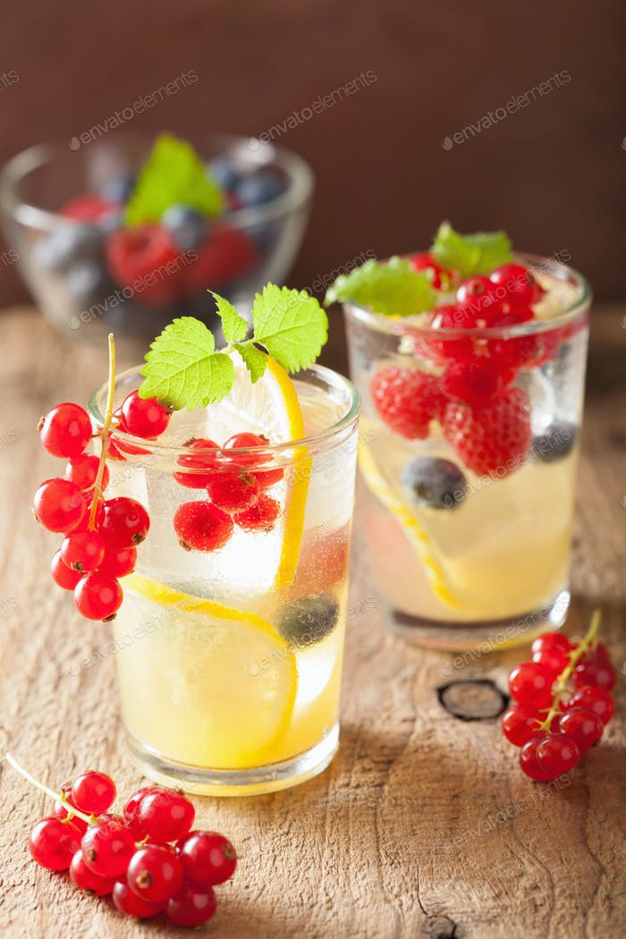 summer lemonade with berry and lemon