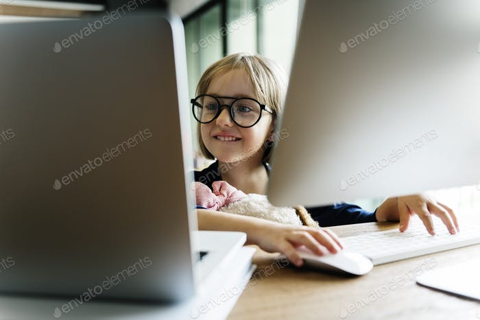 Girl Computer Technology Networking Connection Online Concept