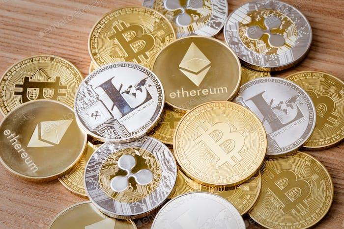 Moneda criptográfica aislada
