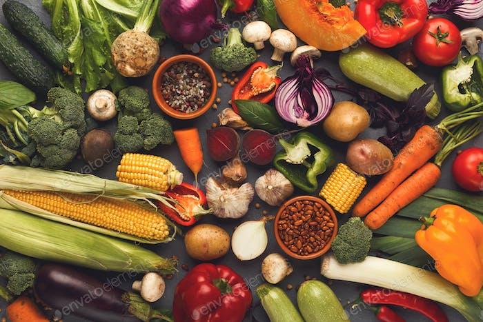 Fresh bright vegetables background