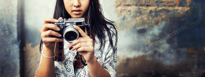 Fotografía de cámara de turismo de viaje Wanderlust Concepto
