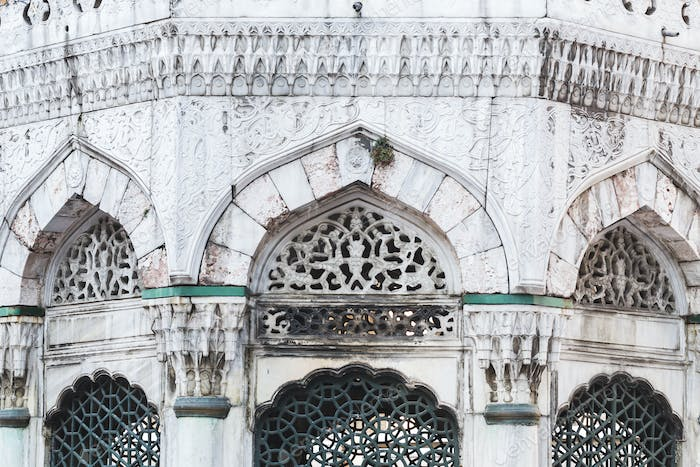 Beautiful carved and  facade of mosque in Turkey Istanbul