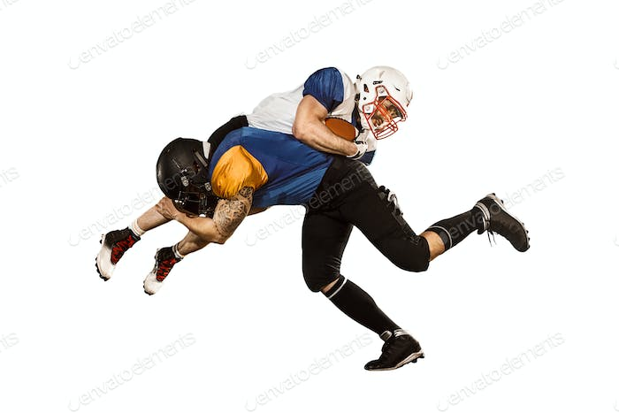 The two american football players studio isolated on white background