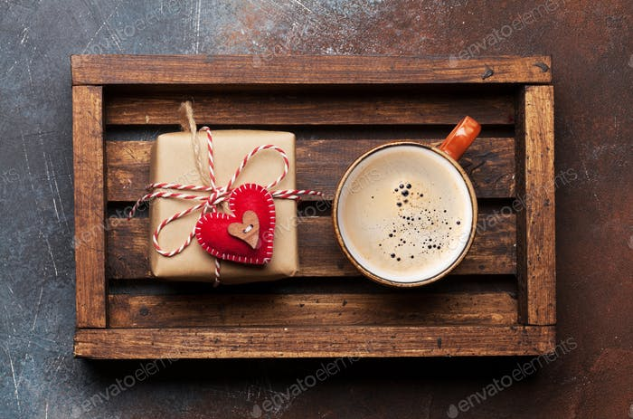 Valentines day card with gift box and coffee cup