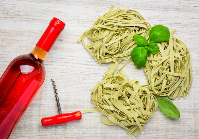 Rose Wine and Green Italian Tagliatelle Pasta