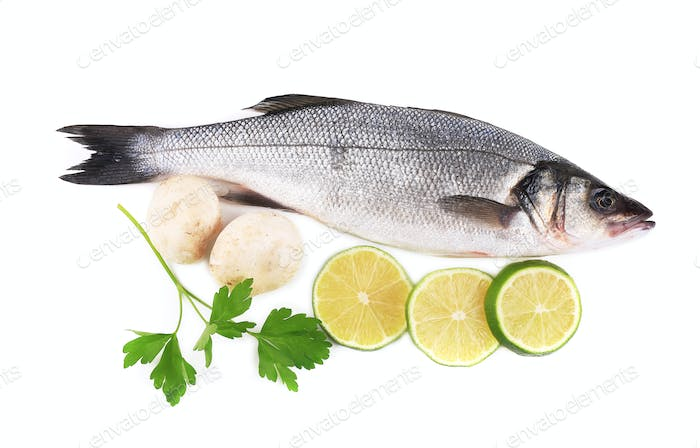 Fresh seabass with lemon and mushrooms.