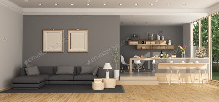 Moder living room with sofa and dining table
