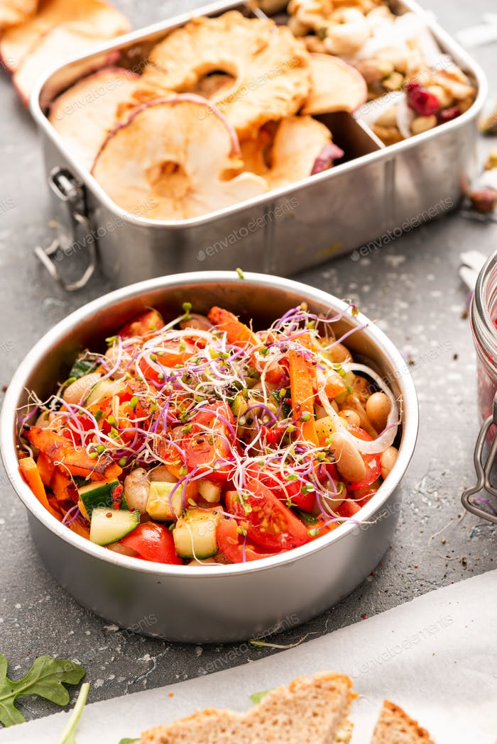 Colorful Fresh and Healthy Lunch Packed into Take Away Containers. Lunchbox Food Ideas