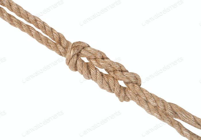 double reef knot joining two ropes isolated
