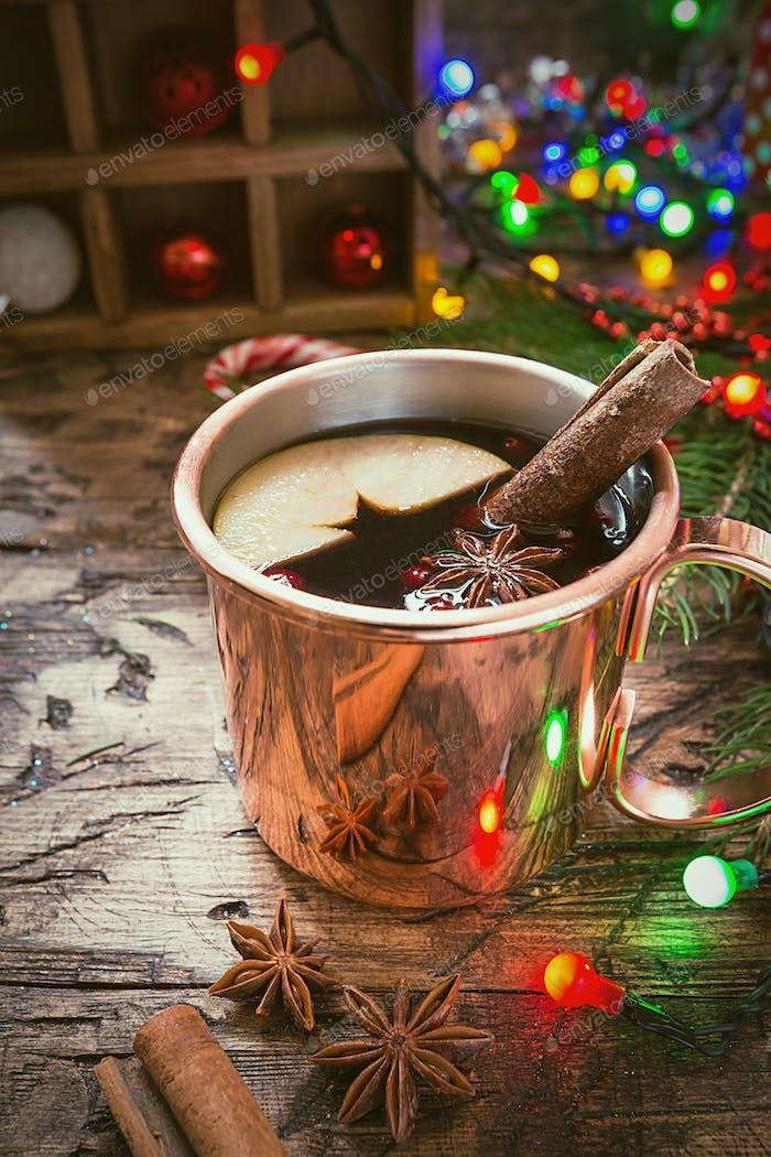 Mulled wine in copper mug
