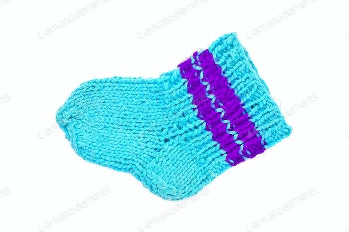 Knitted blue socks