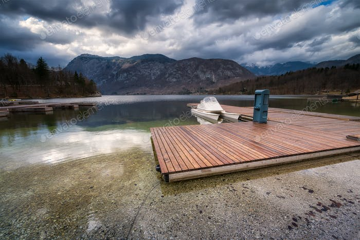 Wooden pier at Bohinj lake, Slovenia