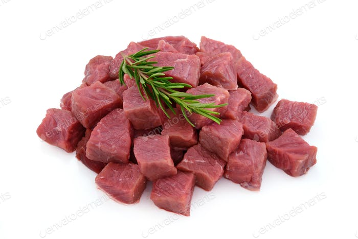 Raw meat, beef steak sliced in cubes
