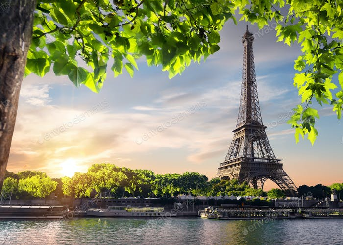 Sunset and Eiffel Tower
