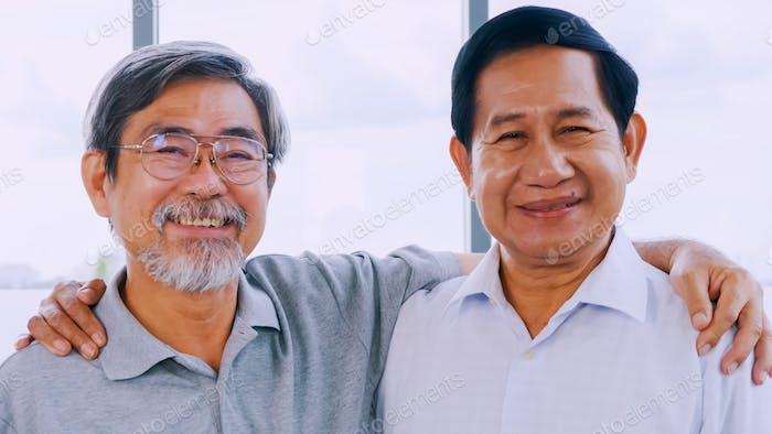 Portrait of two smiling senior men.