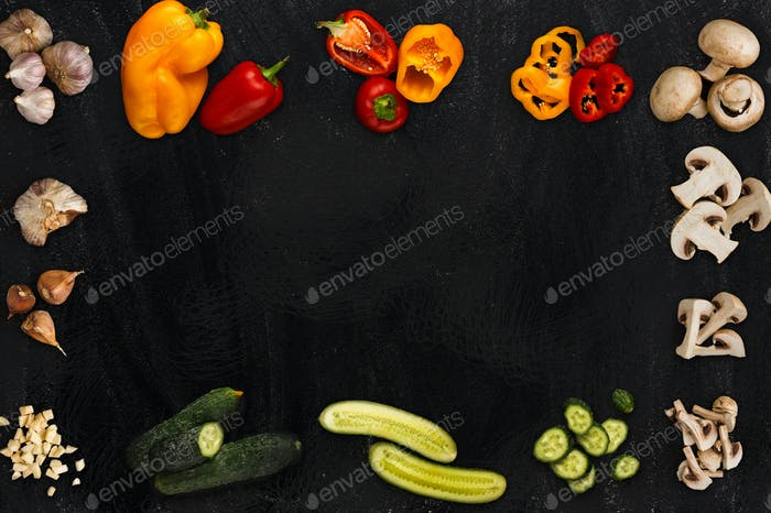 Collage of various vegetables on black background, isolated
