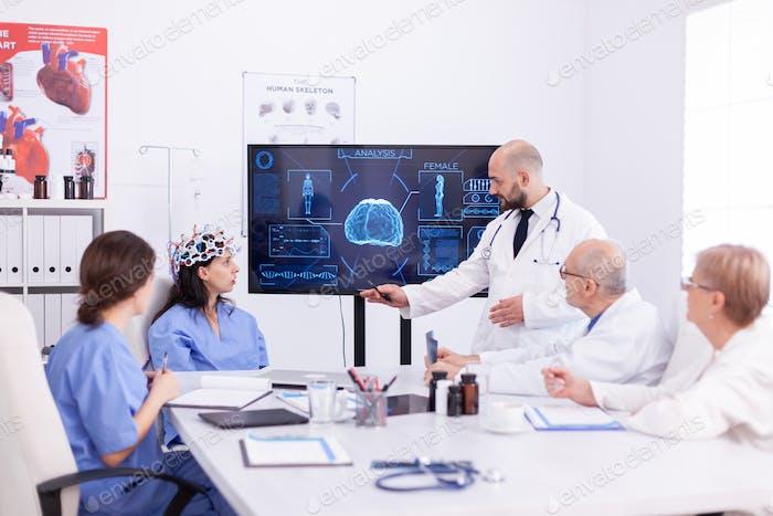 Female nurse wearing scaning headset