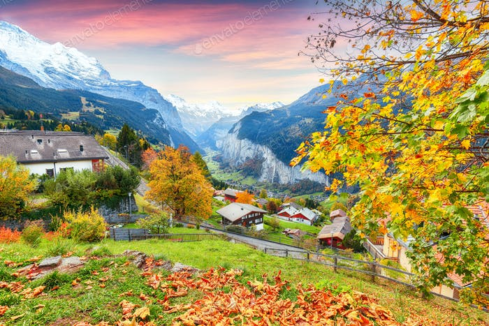 Stunning autumn view of picturesque alpine village Wengen