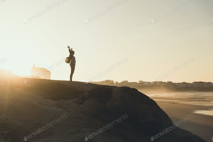 Woman over the cliff
