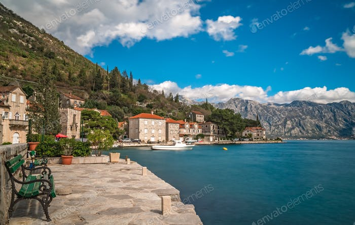 Seaside in Perast town in summer