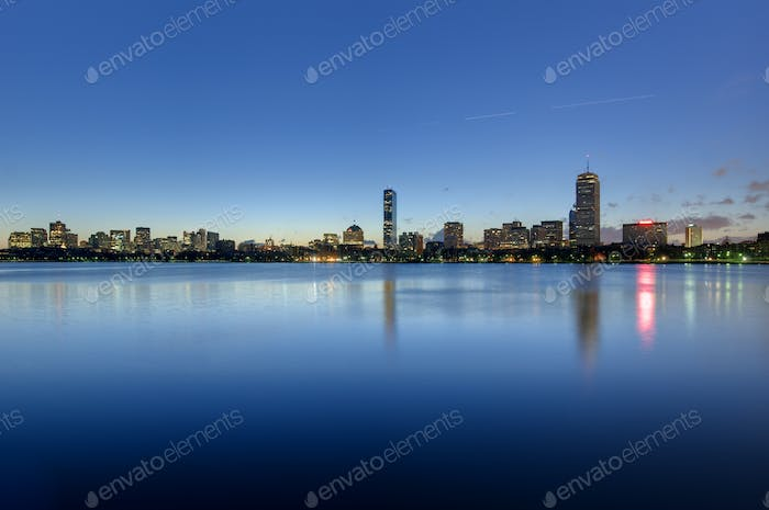 Boston back bay skyline seen at dawn