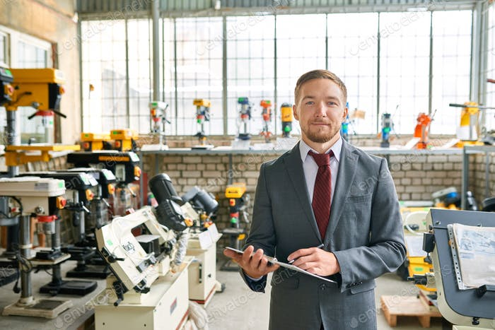 Successful Salesman in Industrial Shop