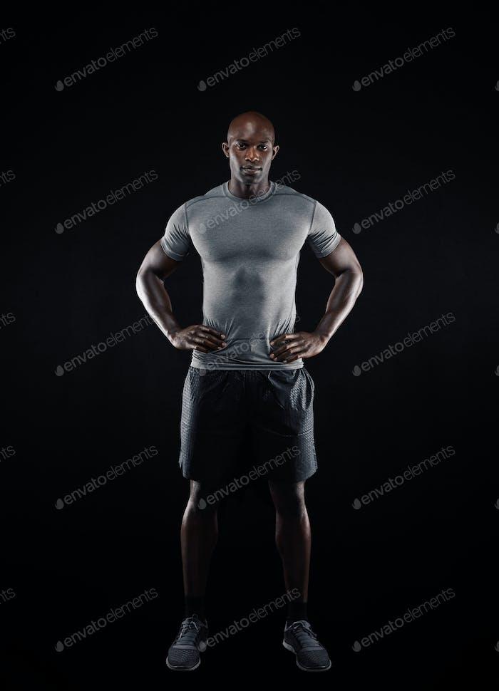 Muscular african man in sportswear