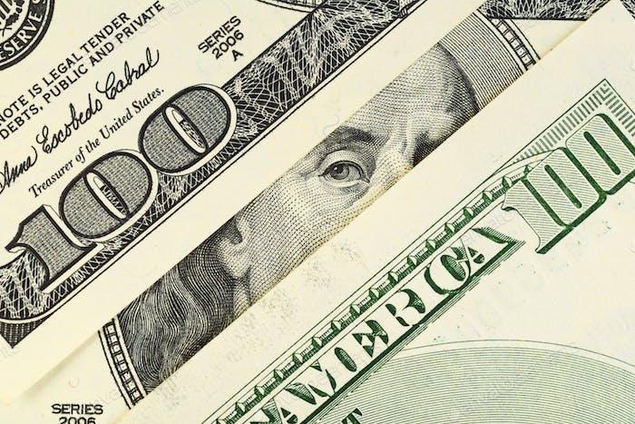 Benjamin Franklin Porträt bei 100 Dollar-Scheine.