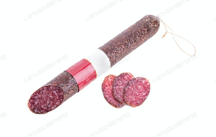 Delicious italian air-dried salami stick.