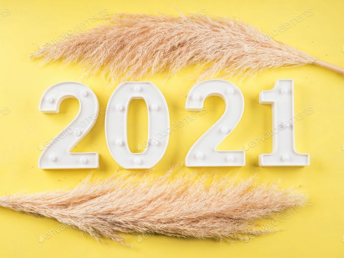 2021 New year numbers on yellow background