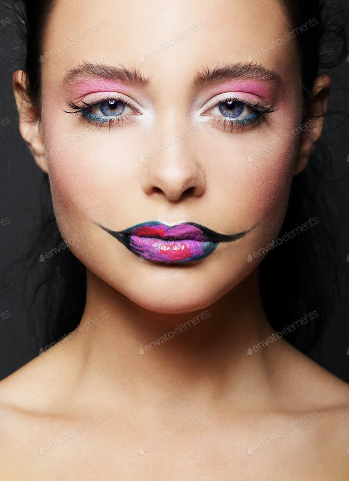 Woman with colorful lipstick