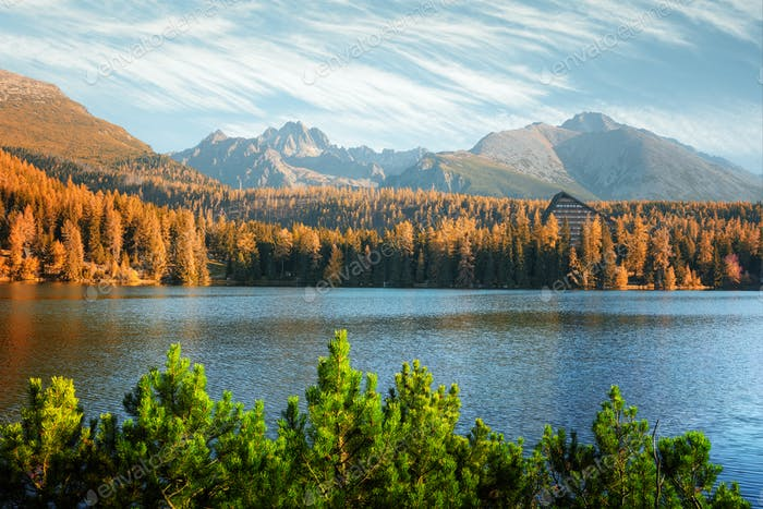 Lake Strbske pleso in autumn time