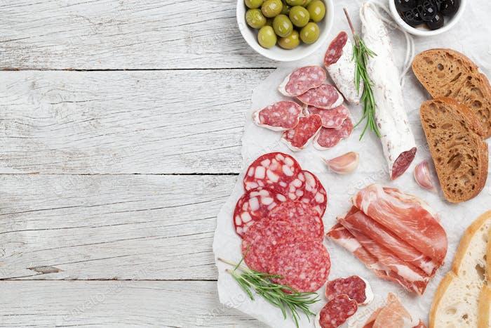 Salami, ham, sausage, prosciutto
