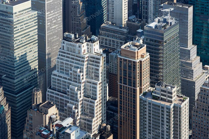 New York City Manhattan skyscrapers aerial view in the morning