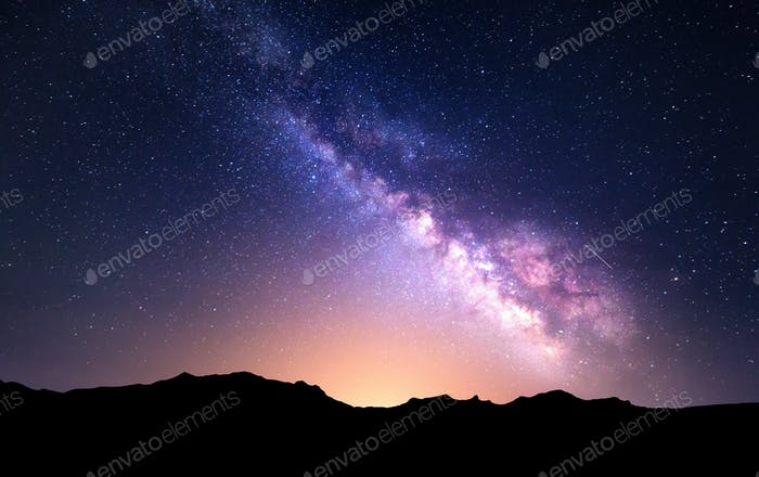 Night landscape with Milky Way. Starry sky, Universe