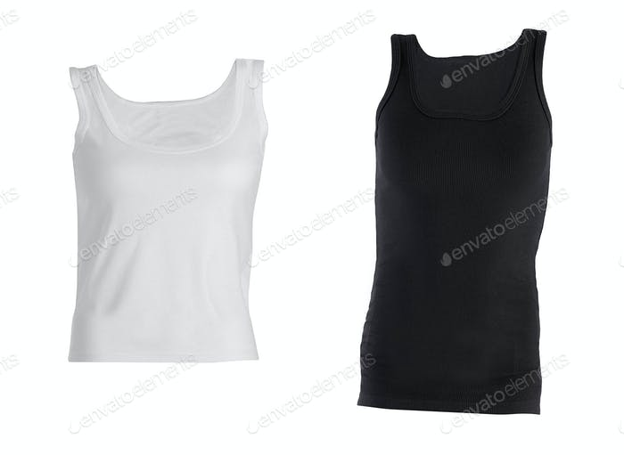 Black and white T-shirts isolated