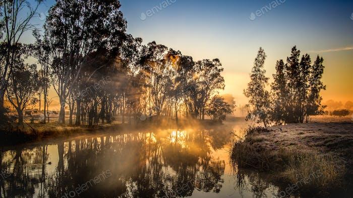 frosty river sunrise