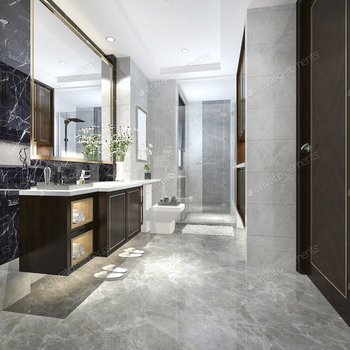 3d rendering modern loft bathroom with luxury tile decor