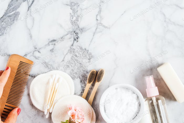 Zero waste beauty care accessories on marble table