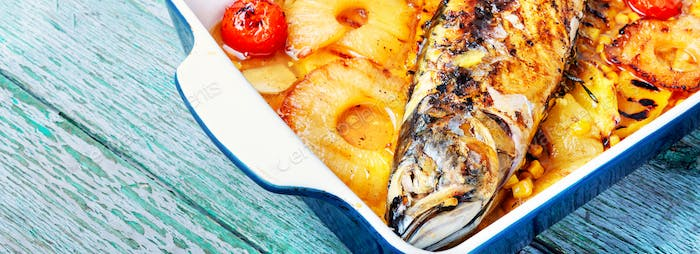 Delicious whole baked fish with pineapple
