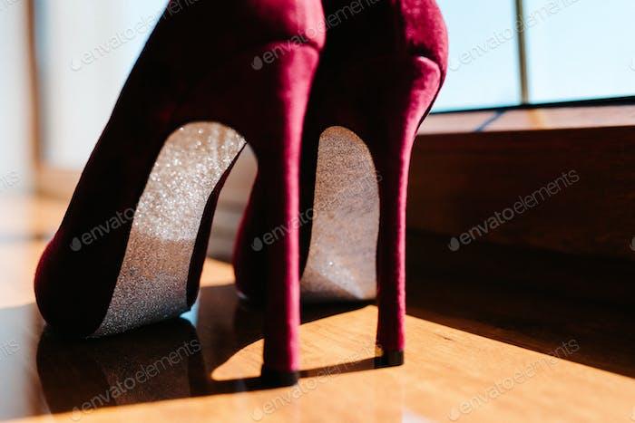 wedding shoes of the bride, beautiful fashion