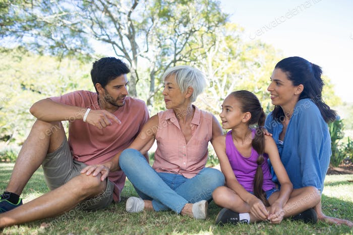 Happy family interacting in the park