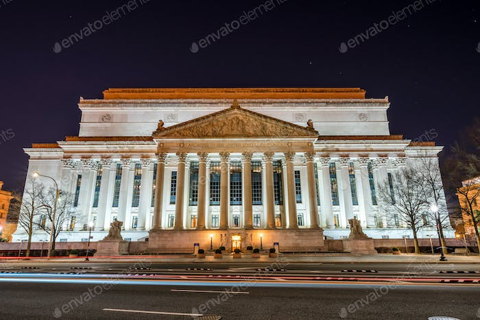 archives of the united states of america at night, washington DC, United States,