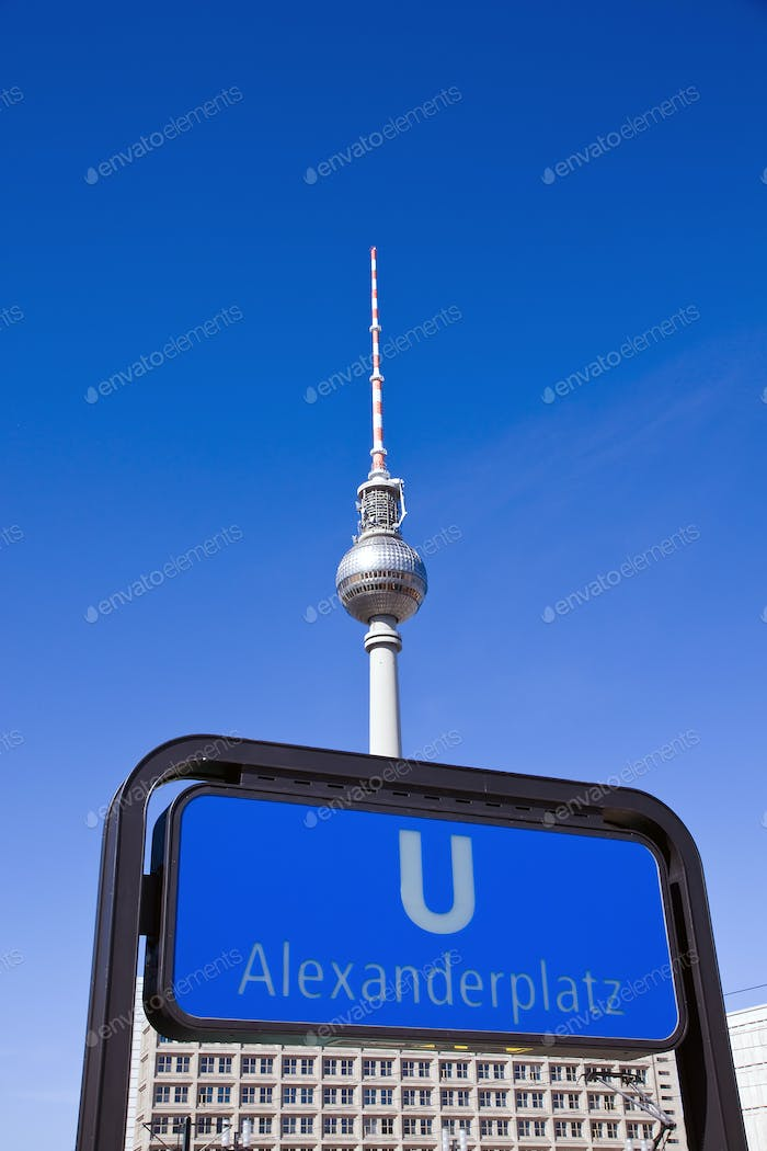 Subway sign and TV-Tower in Berlin
